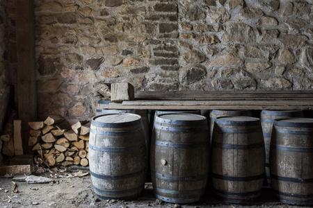 Barrels in the king's storehouse at the Fortress of Louisbourg, Louisbourg, Cape Breton Island, Nova Scotia, Canada