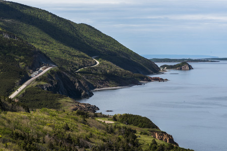 Scenic view of a coastal road, Petit Etang, Cape Breton Highlands National Park, Cape Breton Island, Nova Scotia, Canada Stock Photo