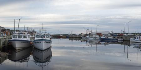 Fishing trawlers moored at harbor, Petit Etang, Cape Breton Island, Nova Scotia, Canada