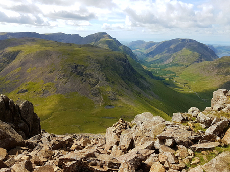 View of Lake District from the top of Great Gable in the English Lake District