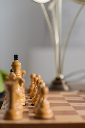 Chess pieces on board at home
