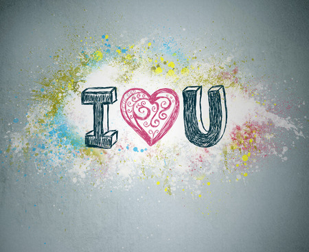 I Love You. Handwritten message on a concrete wall with an illustrated heart used as a symbol of love in this Valentines message. Graffiti bright splatter on background Stock fotó