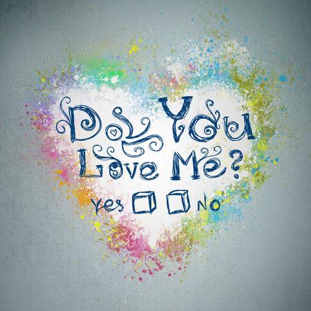 Do you love Me? Creative valentine grunge background. Graffiti heart splatter on a wall Stock Photo