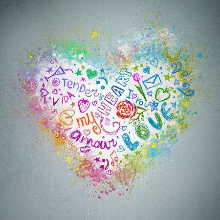 Creative valentine grunge background. Graffiti heart splatter on a wall Stock Photo