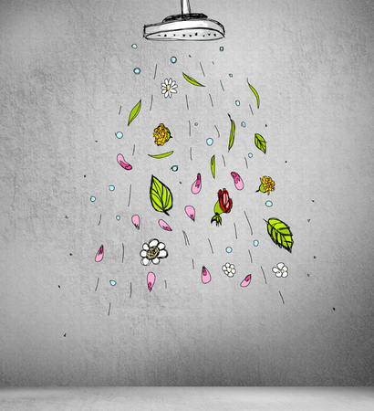Creative freshness background. Inside a room with sketch shower