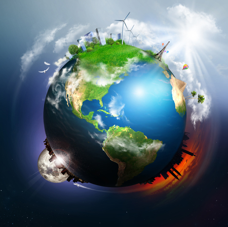 Earth with different elements on its surface  Stock Photo