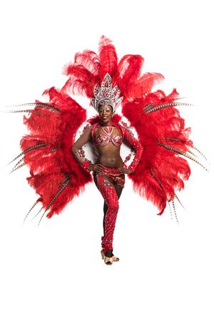 One woman samba dancer on white background
