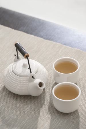 Tea set at comfortable lounge