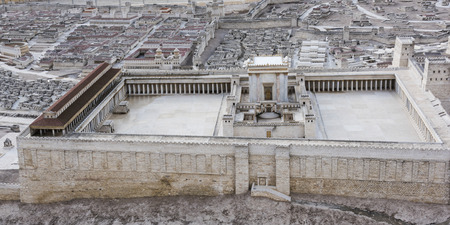 High angle view of Second Temple Model, Musée d'Israël, Jérusalem, Israël