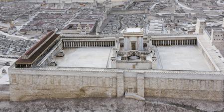 Hohe Winkelansicht des zweiten Tempelmodells, Israel Museum, Jerusalem, Israel