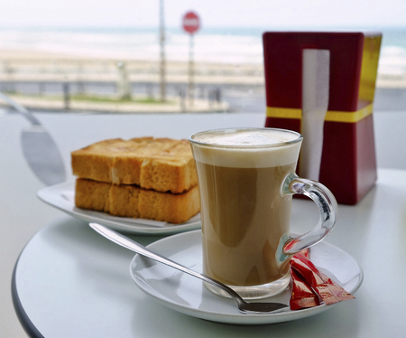 Traditional Portuguese Toast and Coffee 写真素材