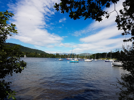 Boats on Lake Windermere Stock Photo