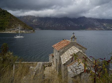 High angle view of a church, Bay of Kotor, Montenegro