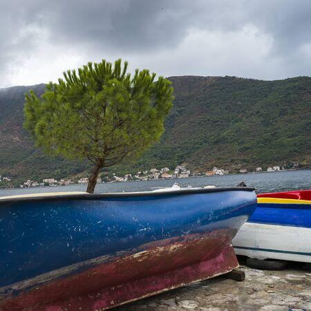 Boats at harbor, Perast, Bay of Kotor, Montenegro 스톡 콘텐츠