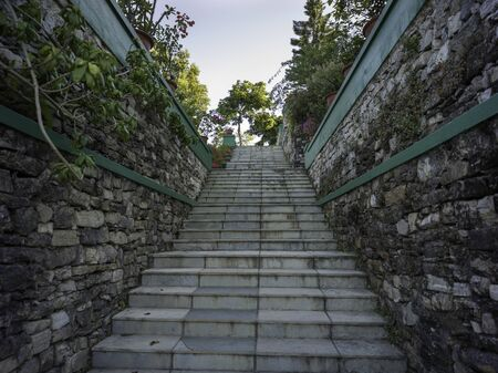 Low angle view of staircase, Darjeeling, West Bengal, India 스톡 콘텐츠