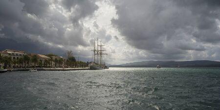 Clouds over Porto Montenegro, Bay of Kotor, Montenegro 스톡 콘텐츠