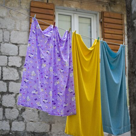 Cloth hanging on a line, Perast, Bay of Kotor, Montenegro Stock Photo