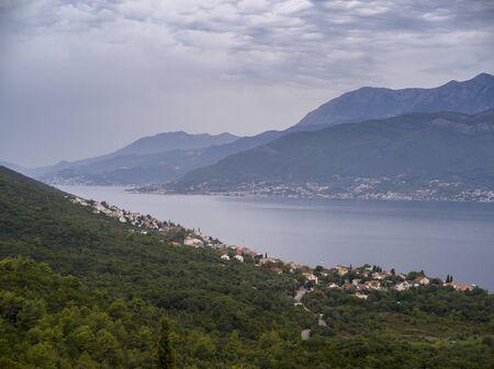 Aerial view of coastal town, Karce, Trivet, Montenegro 스톡 콘텐츠