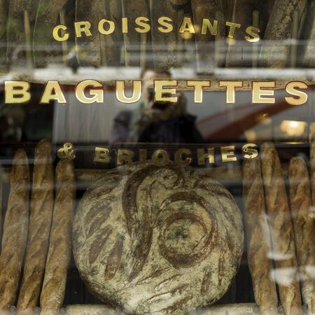Croissants, baguettes and brioches on display at a bakery, New York City, New York State, USA