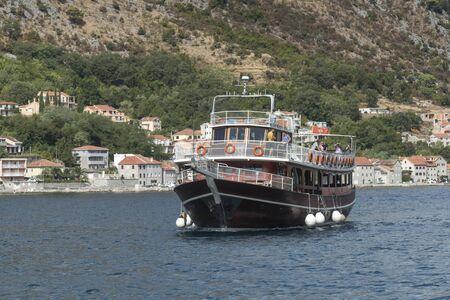 Passenger boat in Bay of Kotor, Montenegro