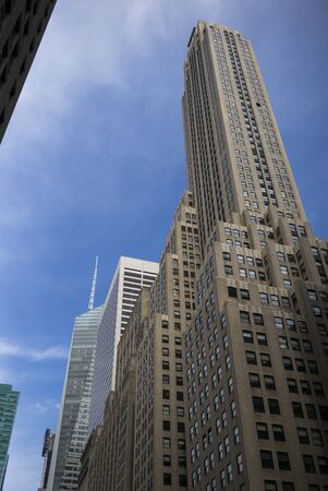 Low angle view of skyscraper, New York City, New York State, USA 스톡 콘텐츠