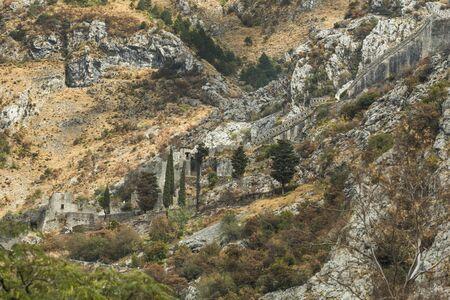 View of Ruins of wall and ramparts Kotor Fortress, Kotor, Bay of Kotor, Montenegro