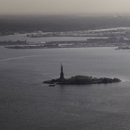 Aerial view of Statue of Liberty, Liberty Island, New York City, New York State, USA Stock Photo
