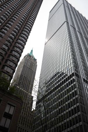 Low angle view of skyscrapers in Manhattan, New York City, New York State, USA