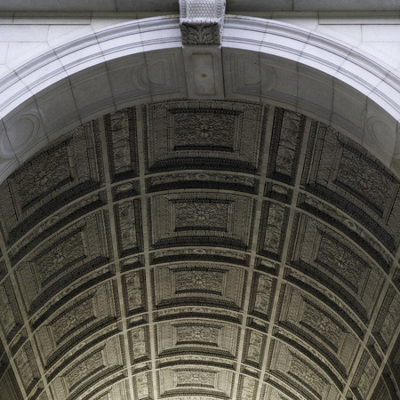 Architectural  ceiling details of Washington Square Arch, Washington Square Park, Greenwich Village, Lower Manhattan, New York City, New York State, USA Stock Photo