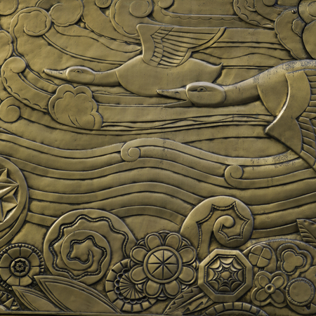 Details of carving on the wall of a building, Manhattan, New York City, New York State, USA Stock Photo
