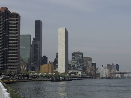 Buildings on the waterfront, East River, New York City, New York State, USA 스톡 콘텐츠