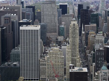Aerial view of skyscrapers in New York City, New York State, USA 스톡 콘텐츠