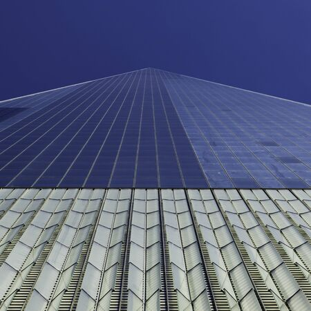 Low angle view of exterior facade, One World Trade Center, Lower Manhattan, New York City, New York State, USA