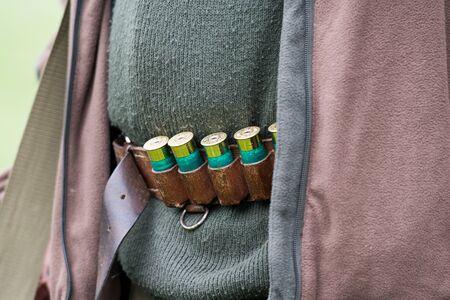 A cartridge belt full of 12 bore cartridges 스톡 콘텐츠
