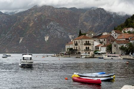 Boats in the Bay of Kotor, Perast, Montenegro