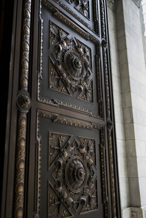 Details of an ornate door, New York Public Library, Midtown Manhattan, New York City, New York State, USA