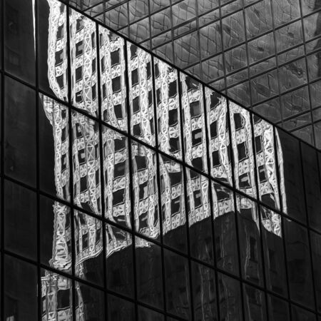 Reflection of skyscraper on the glass of another building, Socony-Mobil Building, 42nd Street, Midtown Manhattan, New York City, New York State, USA