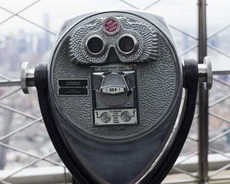 Close-up of coin operated binoculars, Empire State Building, Midtown Manhattan, New York City, New York State, USA