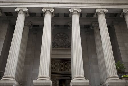 Low angle view of architectural columns, New York City, New York State, USA