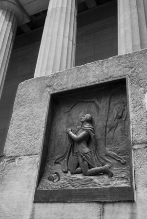 Bas relief of George Washington kneeling in prayer, Federal Hall, Wall Street, Manhattan, New York City, New York State, USA