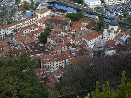 Aerial view of town seen from the way to Kotor Castle of San Giovanni, Kotor, Bay of Kotor, Montenegro 写真素材