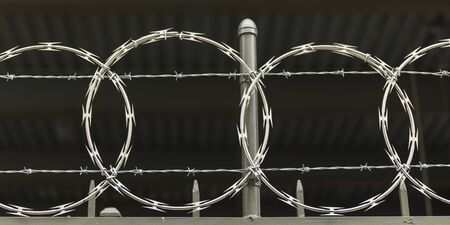 Close-up of barbed wire fencing, New York City, New York State, USA 写真素材