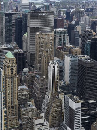 Aerial view of skyscrapers in city, New York City, New York State, USA