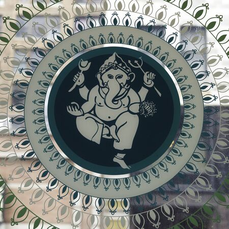 Illustration of Lord Ganesh on glass, New York City, New York State, USA Reklamní fotografie