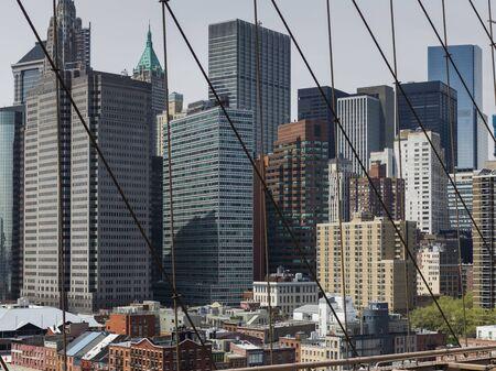 Manhattan skyline seen from Brooklyn Bridge, New York City, New York State, USA 版權商用圖片