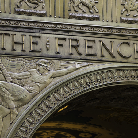Carving details at entrance of Fred F. French Building, Fifth Avenue, Manhattan, New York City, New York State, USA