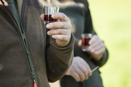 Drinks in the field at elevenses