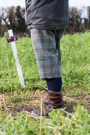A man game shooting in bright tweed plus-fours
