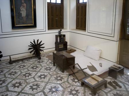 Interiors of Mahatma Gandhis Room, Mani Bhavan - Mahatma Gandhis Residence in Mumbai 1917-1934, Gandhis Museum & Library, Mumbai, Maharashtra, India