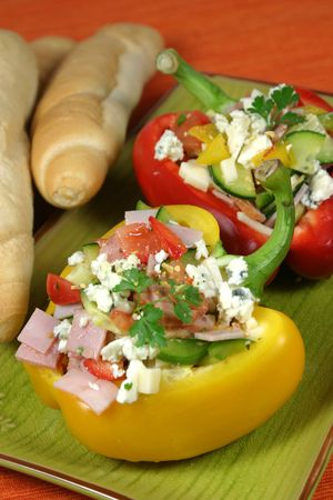 Bell peppers stuffed with vegetables, ham, edam cheese and blue vein cheese Stock Photo - 5923100